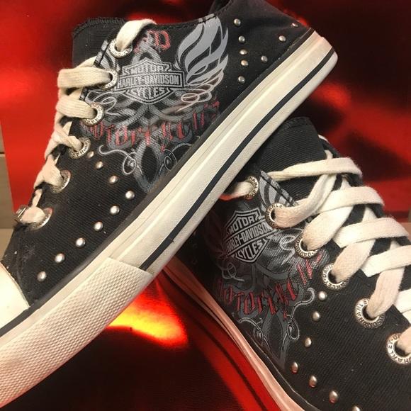 3b62d1673d1f Harley-Davidson Shoes - Black   white Harley Davidson sneakers. Women Sz 9